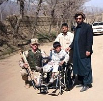 The first donated wheelchair Afghanistan, March 3, 2004 Photo used courtesy AnySoldier.com